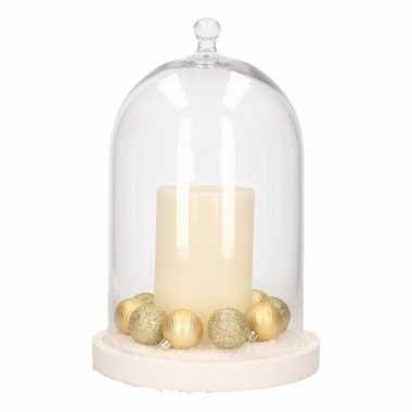 Stolp Met Ivoor Led Kaars En Gouden Kerstballen Witte Kerstballen Nl
