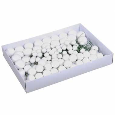 Voordeelverpakking witte glitter kerstballetjes instekers 2, 3 en 4 cm
