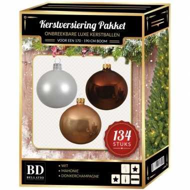 Wit/beige/bruin kerstversiering voor 180 cm boom 134-delig