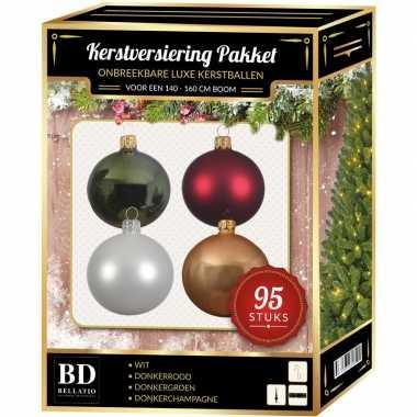 Wit/beige/donkergroen/donkerrode kerstversiering voor 150 cm boom 95-