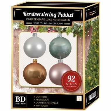Wit/beige/mint/roze kerstballen pakket 92-delig voor 150 cm boom