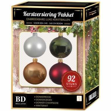 Wit/beige/rood/groen kerstballen pakket 92-delig voor 150 cm boom