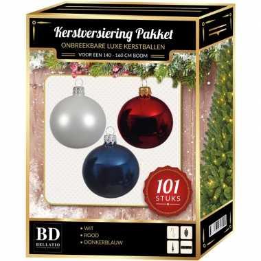 Wit/blauw/rood kerstversiering voor 150 cm boom 101-delig
