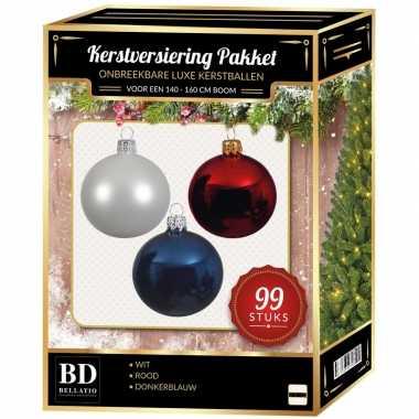 Wit/blauw/rood kerstversiering voor 150 cm boom 99-delig