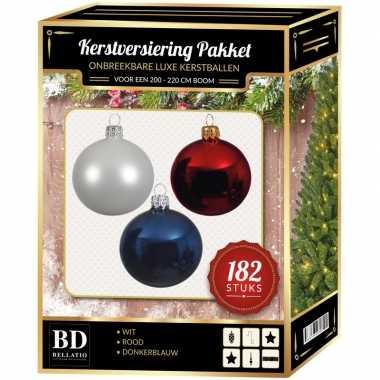 Wit/blauw/rood kerstversiering voor 210 cm boom 182-delig
