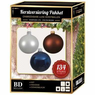 Wit/bruin/donkerblauw kerstversiering voor 180 cm boom 134-delig