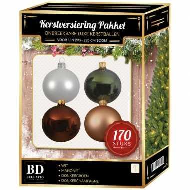 Wit/donker champagne/mahonie/den kerstballen pakket 170-delig voor 210 cm boom