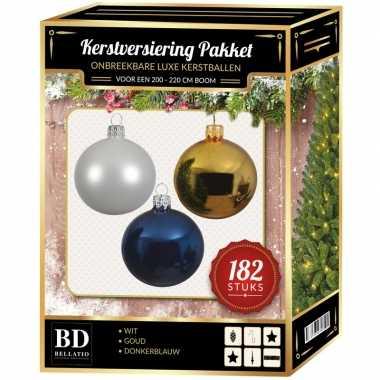 Wit/goud/donkerblauw kerstversiering voor 210 cm boom 182-delig