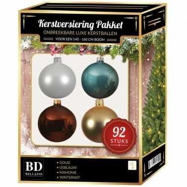 Wit/goud/ijsblauw/bruin kerstballen pakket 92-delig voor 150 cm boom
