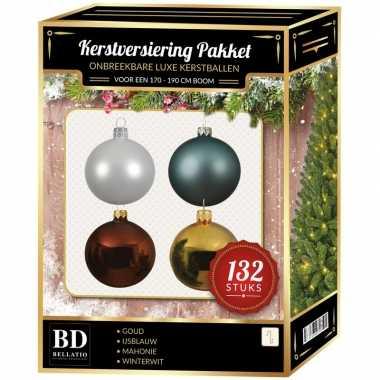 Wit/goud/ijsblauw/mahoniebruine kerstballen pakket 132-delig voor 180 cm boom
