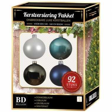 Wit/grijs/ijsblauw/donkerblauw kerstballen pakket 92-delig voor 150 cm boom