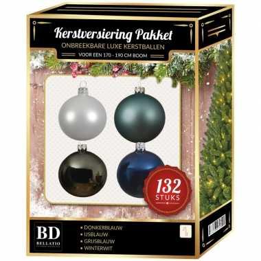 Wit/grijs/ijsblauw/donkerblauwe kerstballen pakket 132-delig voor 180 cm boom