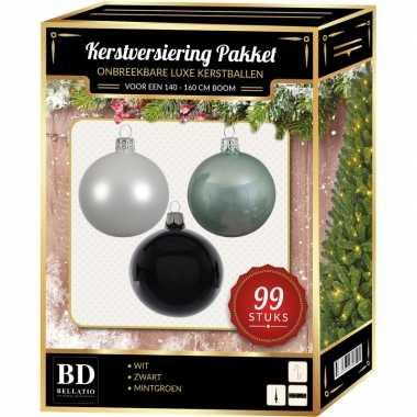 Wit/mint/zwart kerstversiering voor 150 cm boom 99-delig
