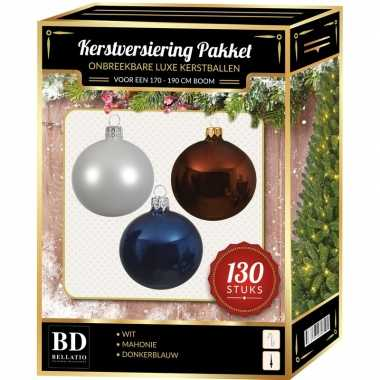 Witte/bruine/donkerblauwe kerstballen pakket 130-delig voor 180 cm boom