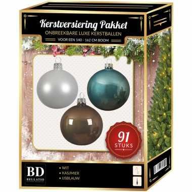 Witte/bruine/ijsblauwe kerstballen pakket 91-delig voor 150 cm boom