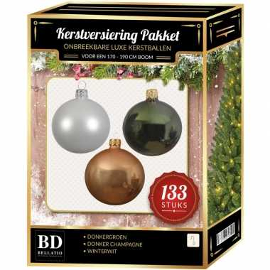 Witte/donker champagne/donkergroene kerstballen pakket 133-delig voor 180 cm boom