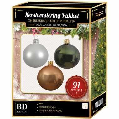 Witte/donker champagne/donkergroene kerstballen pakket 91-delig voor