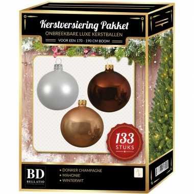 Witte/donker champagne/mahonie bruine kerstballen pakket 133-delig voor 180 cm boom
