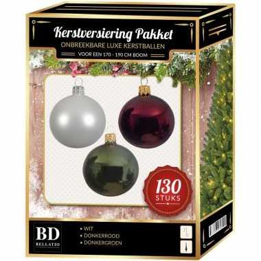 Witte/donkerrode/donkergroene kerstballen pakket 130-delig voor 180 cm boom