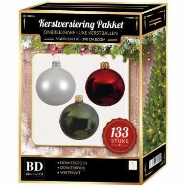 Witte/donkerrode/donkergroene kerstballen pakket 133-delig voor 180 cm boom