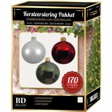 Witte/donkerrode/donkergroene kerstballen pakket 170-delig voor 210 cm boom
