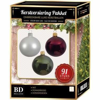 Witte/donkerrode/donkergroene kerstballen pakket 91-delig voor 150 cm