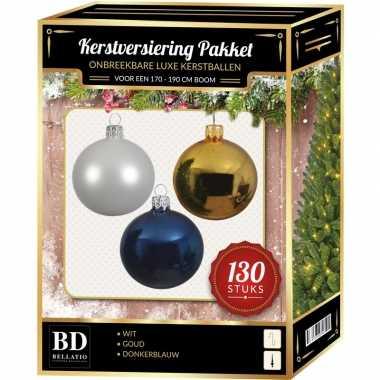 Witte/gouden/donkerblauwe kerstballen pakket 130-delig voor 180 cm boom