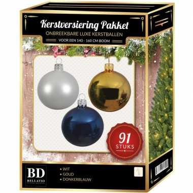 Witte/gouden/donkerblauwe kerstballen pakket 91-delig voor 150 cm boo