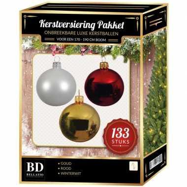 Witte/gouden/kerst rode kerstballen pakket 133-delig voor 180 cm boom