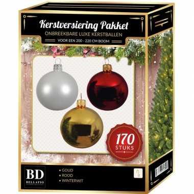 Witte/gouden/kerst rode kerstballen pakket 170-delig voor 210 cm boom