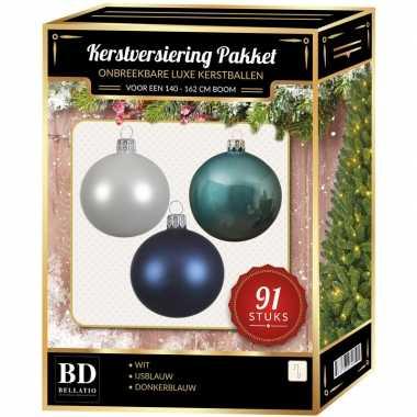 Witte/ijsblauwe/donkerblauwe kerstballen pakket 91-delig voor 150 cm