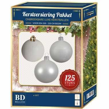Witte kerstballen pakket 125-delig voor 210 cm boom