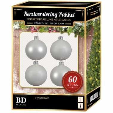 Witte kerstballen pakket 60-delig voor 150 cm boom
