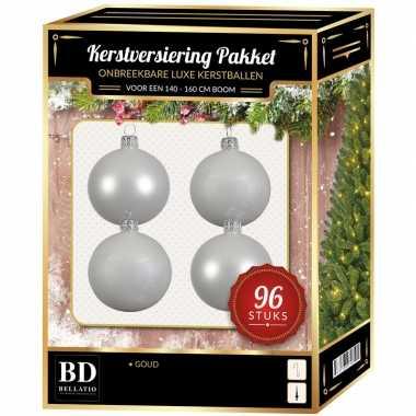 Witte kerstballen pakket 96-delig voor 180 cm boom