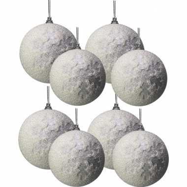 Witte kerstballen pakket met sneeuw effect 8 en 10 cm