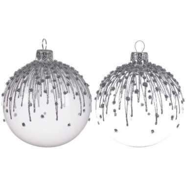 Witte kerstballen transparant 8 cm