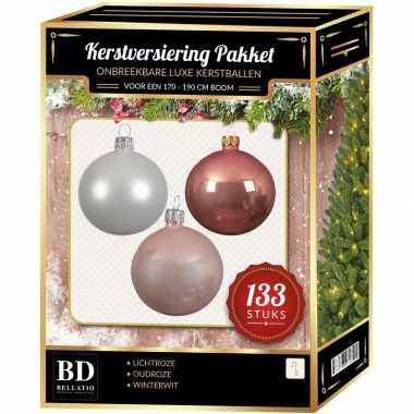 Witte/lichtroze/oud roze kerstballen pakket 133-delig voor 180 cm boom