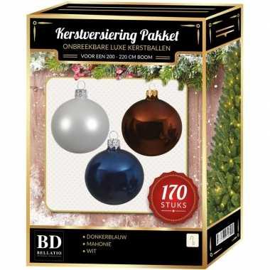 Witte/mahonie bruine/donkerblauwe kerstballen pakket 170-delig voor 210 cm boom