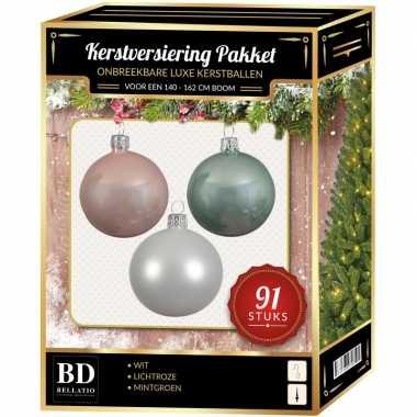 Witte/mint/lichtroze kerstballen pakket 91-delig voor 150 cm boom