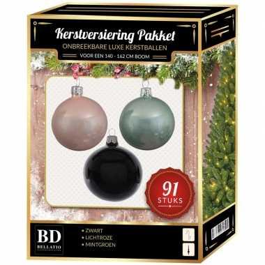 Witte/mint/zwarte kerstballen pakket 91-delig voor 150 cm boom