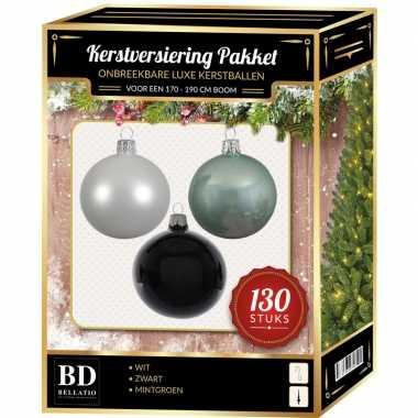 Witte/mintgroene/zwarte kerstballen pakket 130-delig voor 180 cm boom