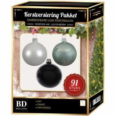 Witte/mintgroene/zwarte kerstballen pakket 91-delig voor 150 cm boom