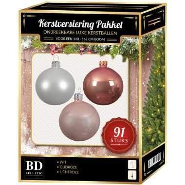 Witte/oud roze/lichtroze kerstballen pakket 91-delig voor 150 cm boom