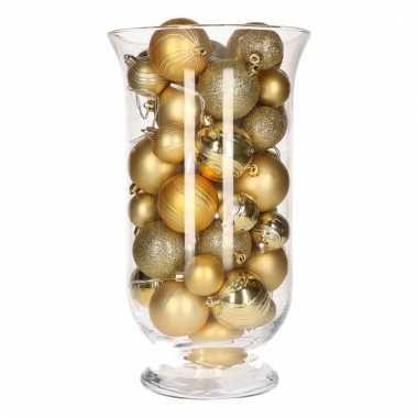 Woondecoratie vaas met gouden kerstballen
