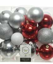 26 stuks kunststof kerstballen mix zilver rood wit 6 8 10 cm