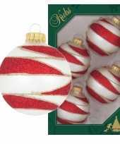 4x glazen glitter kerstballen wit rood goud velvet 7 cm
