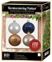 Champagne wit blauwe kerstballen pakket 170 delig voor 210 cm boom