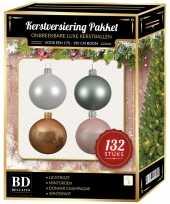 Champagne wit mint roze kerstballen pakket 132 delig voor 180 cm boom