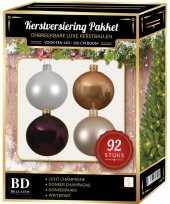 Champagne wit paarse kerstballen pakket 92 delig voor 150 cm boom