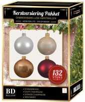 Champagne wit parel donkerrode kerstballen pakket 132 delig voor 180 cm boom